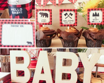 Lumberjack Baby Shower Decorations Package plaid red black printable