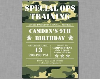 Army Birthday Invitation party military camouflage MB51 Digital or Printed