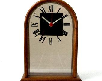 Vintage 70s Howard Miller MCM Clock Desk Mantle Arched Top Solid Walnut Frame Lucite Smoke Clear See Thru Face Zeeland MI USA Exellent Cond