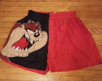 LOONEY TUNES TAZ // 90's Tasmanian Devil Silk Boxers Boxer Shorts Men's Size L Underwear