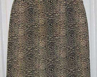 CHEETAH LEOPARD SKIRT // 90's Gemilli Stretch Pencil Skirt Brown Black 80's High Waisted Size s/m