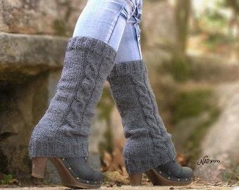 Knit Leg Warmers, Boot Cuffs, Faux Boot Socks, Boot Topper, Boot Sleeve, Braided, Leg Cuffs, Legwarmers,