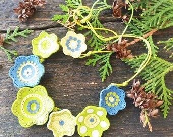 Summer Necklace Statement flowers necklace Bib necklace Floral necklace Green Yellow Blue Flowers