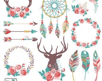 Boho Chic Clipart, Rustic Wedding Clip Art, Tribal Vector Graphics -  Ethnic Graphics - Hippie Style Vector EPS - Instant Download