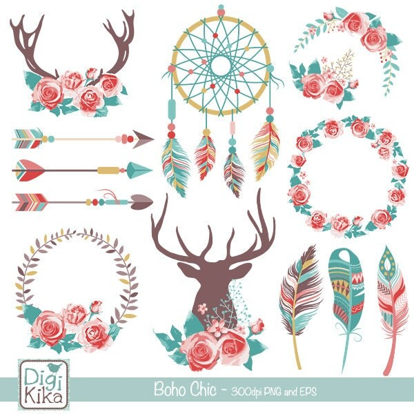Boho Chic Clipart Rustic Wedding Clip Art Tribal Vector
