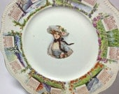 Antique Steubenville 1910 CALENDAR Plate Four Season Vintage China SHABBY Cottage Chic Decor Victorian Girl Color Transfers Wall Display