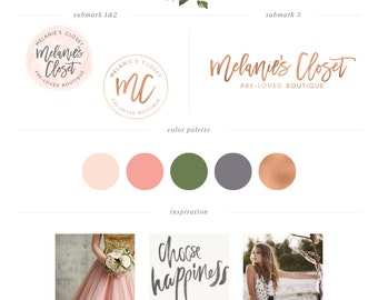Watercolor Floral Logo design - Premade Branding Package - Boutique Custom PreDesigned Logo - photography logo - closet logo - fashion Logo
