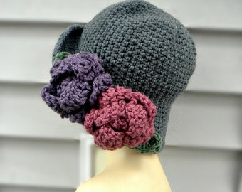 Flapper Hat With Flowers, Grey Crochet Hat, Womens Hat, Winter Hat, Hat With Flowers