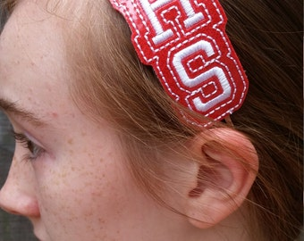 High School Initials Spirit Vinyl Embroidered Slider Headbands