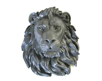 CHARCOAL GREY Large Faux Taxidermy Lion Head wall mount wall hanging // faux animal head // safari decor // office / nursery / home /