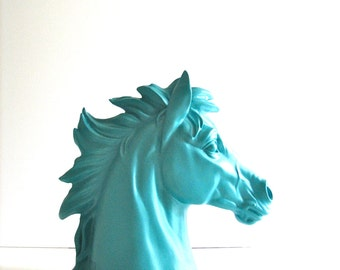 DARK TURQUOISE Faux Horse Head Animal Bust statue / ranch / farm animals // kids room // office decor // blue horse // nursery // turquoise