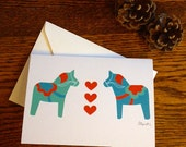 Dala Horse Notecard in Turquoise, Teal and Tomato Red (Blank)