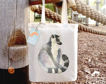 Lemur Tote Bag, Ethically Produced Shopping Bag, Reusable Shopper Bag, Market Bag, Cotton Tote, Eco Tote Bag, Reusable Grocery Bag