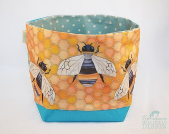 Bumble Bee Fabric Storage Box, Storage Basket, Fabric Basket, Fabric Organiser, Storage Bin