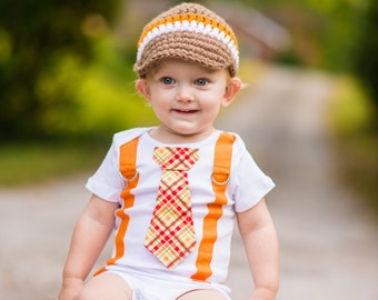 NEW Baby Boy Tie and Suspender bodysuit.  Thanksgiving Fall Orange Plaid.  Baby Shower Gift.  Fall Photo Prop, Baby Boy Fall Outfit
