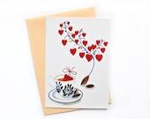 Valentines Postcard, Valentines Greeting Card, Love Postcard, Heart Postcard
