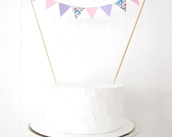 Pastel Pink & Lavender Cake Topper - Fabric Cake Bunting - Wedding, Birthday Party, Baby Shower Decor purple floral dots fairy tea party