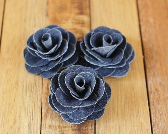 Two Dozens  Blue Denim Fabric  Eco-Friendly Roses