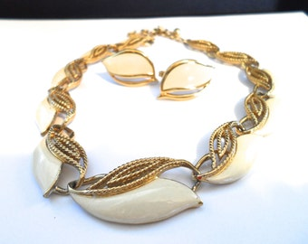 1980s Trifari Ivory Enamel and Gold Tone Filigree Choker Necklace and Clip Earrings Vintage Trifari Jewelry