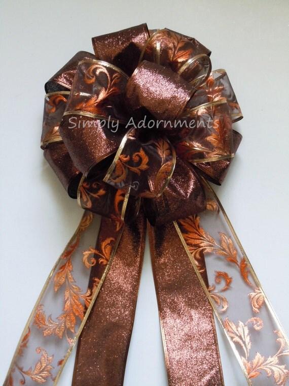 Brown Bronze Filigree Wreath bow Fall Brown Bronze Wedding Pew Bow Brown Thanksgiving Wreath Bows Fall Autumn Wedding Bow Brown Fall door bo