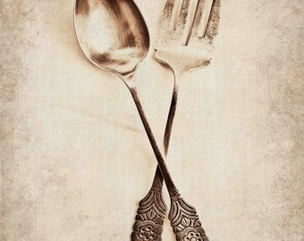 Food Photography, Vintage Fork & Spoon Print, Kitchen Wall Decor, Black and White Photography,  Fine Art Photography - Rustic - Industrial