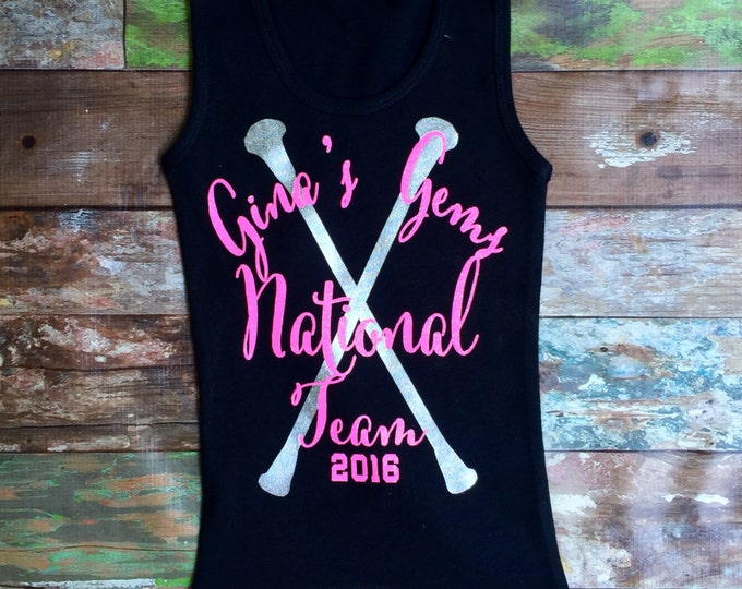 Monogrammed Tank Top, Baton Tank top, Twirler tank top, Majorette tank top, Twirl Competition Team Tank Top