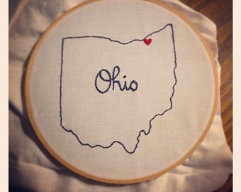 Custom home state embroidery hoop wall art hometown city love