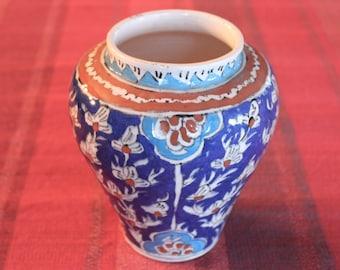 OOAK Vintage Handycraft Handpainted Flower designed ceramic Kutahya, Iznik, Ottoman Designed Vase