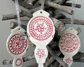 SALE Christmas Ornaments Pottery Red White Lace Decoration Ceramic Ornament Set of 3 Wedding Gift