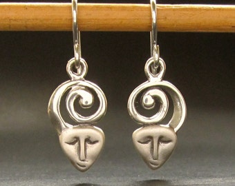 Face Spiral earrings, spiral sterling silver handmade in USA