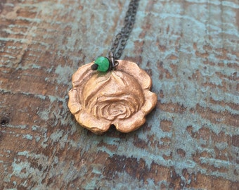 Roses and chrysoprase necklace