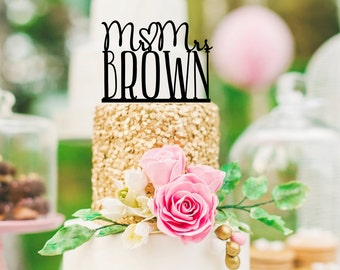 Mr and Mrs Wedding Cake Topper Heart Design Personalized with YOUR Last Name - 0166