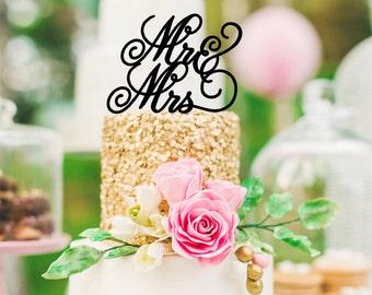Mr & Mrs Script Wedding Cake Topper - 0169