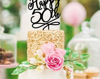 50th Birthday Cake Topper - Happy 50th Cake Topper - 50th Anniversary Cake Topper