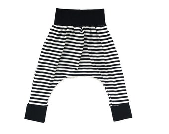 Classic Harem Pants Black & White Stripe with Black Waistband and Cuffs.