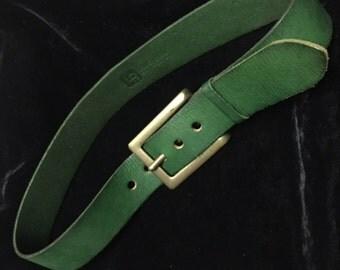 Wide Green Leather Belt LP Vintage 1970's
