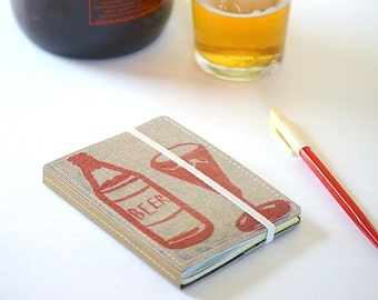 Upcycled Mini Journal- Beer Edition, Beer Notebook, Ready to Ship
