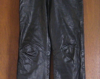 Vintage 80s Black Leather High Waisted Full Fit ISSUES Alternative Gothic Grunge Rocker Indie Hipster Pants