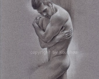 Original drawing, MALE NUDE, pencil and white charcoal on tone paper 9x12inches, art, gay interest