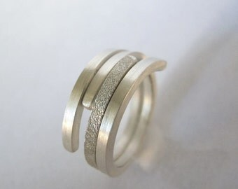 Stackable Wrap Ring - Pave, brushed finish - Sterling Silver