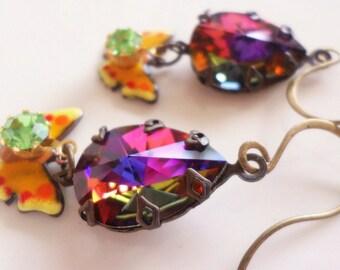 Swarovski Crystal Volcano Teardrop Dangle Earrings Antiqued Brass Earrings Bohemian Boho Chic Gypsy Vintage Style Butterfly Earrings Jewelry