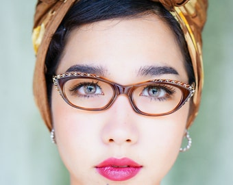 Vintage Eyeglass Cat eye glasses 1960's Frame Made In France By TWE Light Tortoiseshell Color With Rhiestones