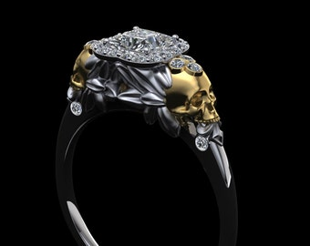 Winged Skull Diamond Engagement Ring 18K Gold with Princess Cut Half Carat