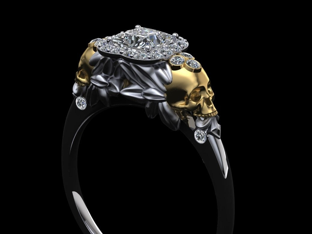 skull wedding ring winged skull engagement ring 18k gold with princess 7540