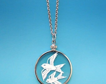 Papercut Flying Birds Necklace - Original Handcut Paper in Glass Pendants with Silver Chain