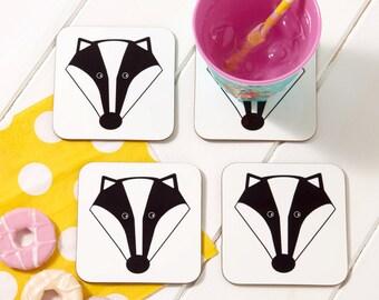 Mr Badger Coaster - Drinks Coaster - Animal Coaster