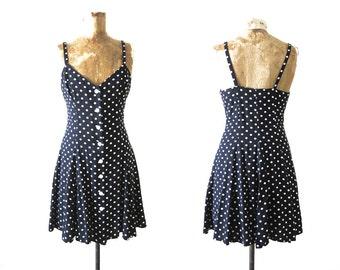 90s Mini Dress - Black and White Polka Dot Dress - Button Front Dress - Spaghetti Strap Dress - Small