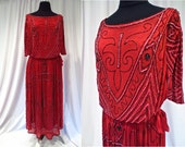 Cherry Red Silk Beaded Flapper Dress with Sparkling Black & Milky Pink Beads and Ruched Shoulders