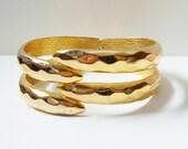 Gold Clamper Bracelet, Hinged Cuff Bracelet, Tongs Forks, Vintage Costume Jewelry, Gold Tone Clamp Bracelet
