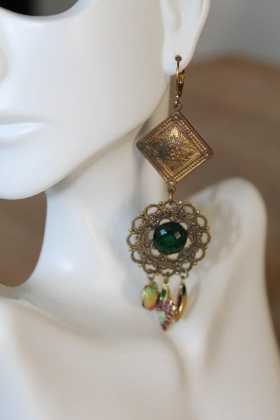"Dangle Earrings ""Fruit salad"" Cloisonne charms vintage assemblage Repurposed, Revival, filigree bronze, mixed media art, upcycled, OOAK"